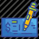business, cheque, exchange, finance, money, paper, pen icon