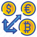 arrow, business, coin, exchange, finance, money, transfer icon