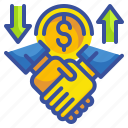 business, deal, exchange, finance, hand, money, transfer icon