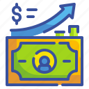 arrow, business, finance, graph, grown, money, transfer icon