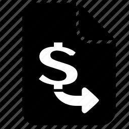 contract, document, dollar, money, send, transfer, usd icon