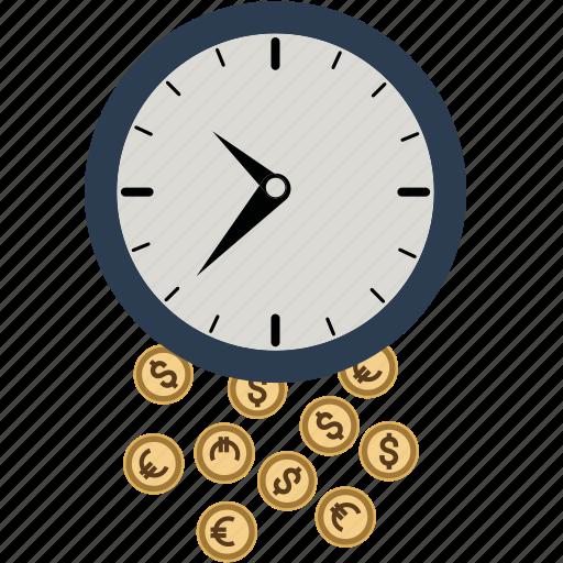 alarm, budget, business, clock, coin, dollar, euro, finance, money, time icon