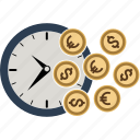 alarm, budget, business, clock, coin, dollar, euro, finance, money, time icon