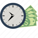 alarm, budget, business, clock, dollar, euro, finance, money, papers, time icon