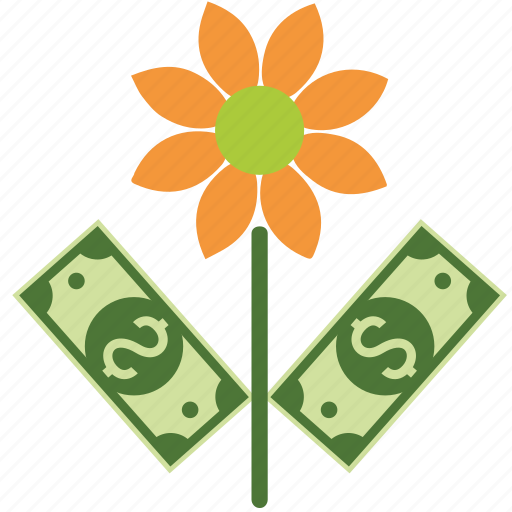 coins, dollar, euro, finance, floral, flower, garden, money, nature, papers, plant, pound, rose, spring icon