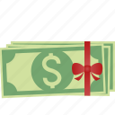 bow, coins, dollar, euro, finance, gift, money, papers, pound, stack, stacked icon