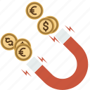 business, coin, dollar, euro, finance, magnet, magnetic, money icon