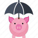 bank, box, coin, dollar, euro, money, pig, piggy, safe, saving, savings, umbrella icon