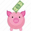 bank, box, coin, dollar, euro, money, paper, pig, piggy, safe, saving, savings icon