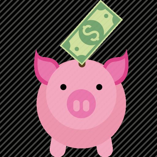 bank, box, coin, dollar, euro, money, paper, pig, piggy, safe, saving, savings icon
