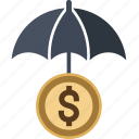 bank, coin, dollar, euro, money, piggy, protect, safe, saving, savings, umbrella icon