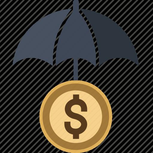 bank, coin, dollar, euro, money, piggy, protect, safe, saving, savings, umbrella icon