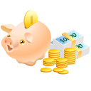 cash, coins, money, pig, piggy bank, safe icon
