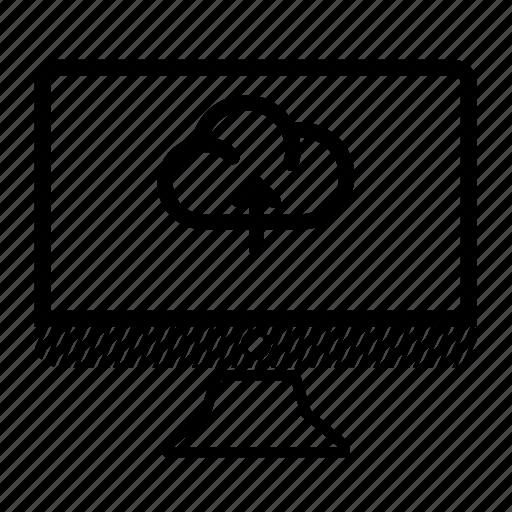 cloud, computer, desktop, monitor, upload icon