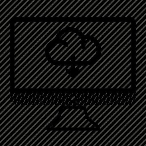 cloud, computer, desktop, download, monitor icon