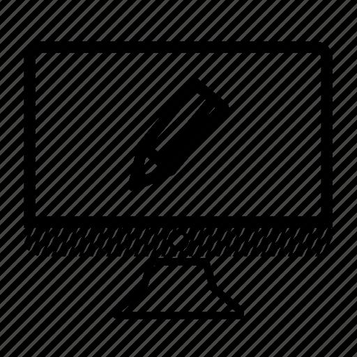 computer, desktop, draw, monitor, pencil icon