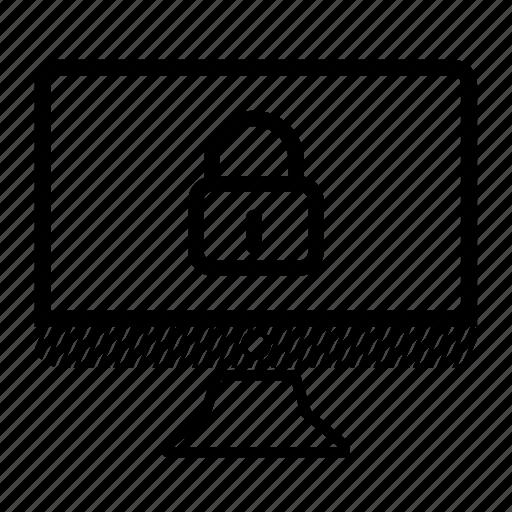 closed, computer, desktop, locked, monitor icon