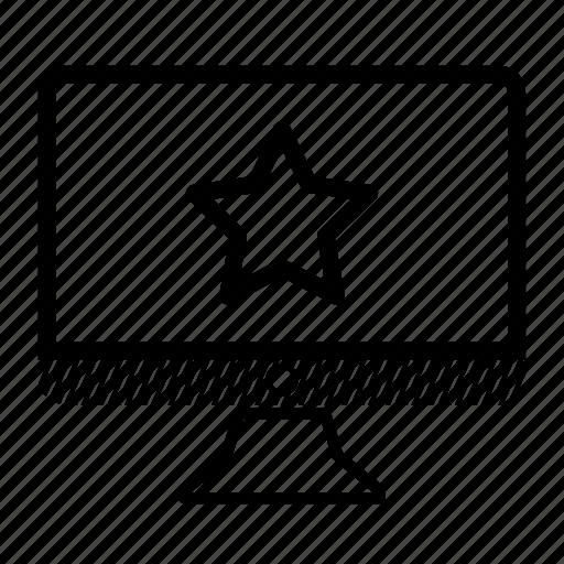 computer, desktop, monitor, rating, star icon