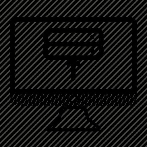 computer, desktop, monitor, server, upload icon
