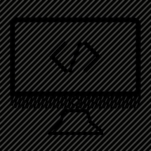 code, computer, desktop, monitor, server icon