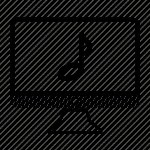 computer, desktop, monitor, music, note icon