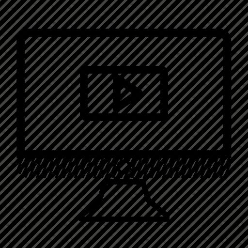 computer, desktop, monitor, play, video icon