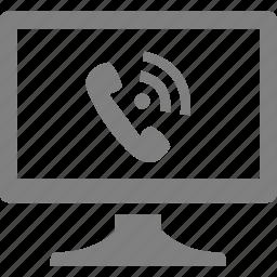 computer, electronics, monitor, phone, telephone icon