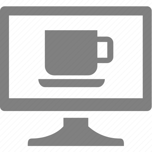 computer, cup, electronics, monitor icon