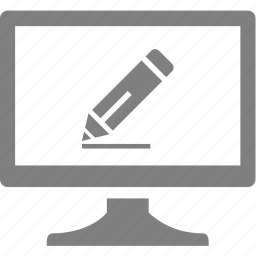 computer, electronics, monitor, pen, pencil icon