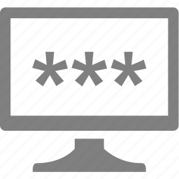 computer, electronics, monitor, password icon