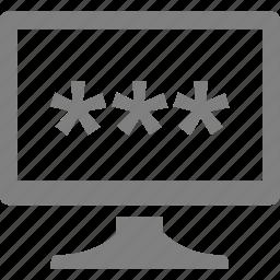 computer, electronics, monitor, password icon