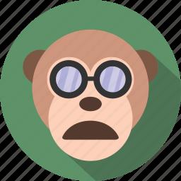 emoticon, expression, face, monkey, rounded, smile icon