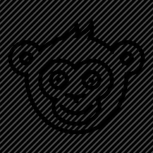 face, glad, head, monkey, smile icon