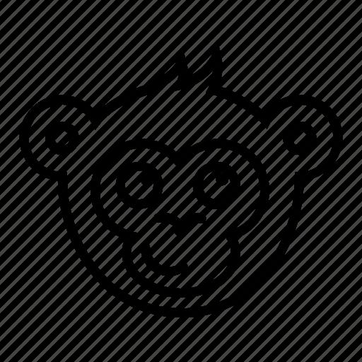 cute, face, head, monkey, smirk icon