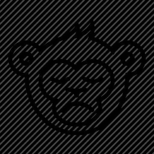 face, head, monkey, sad, unpleasant icon