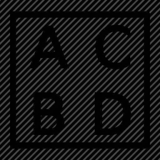 blackboard, knowledge, letters, primer, school, science icon
