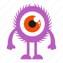 big eye, cartoon, monster, spooky icon
