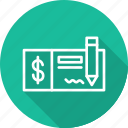 bank, banking and finance, business, check, mordern, payment icon