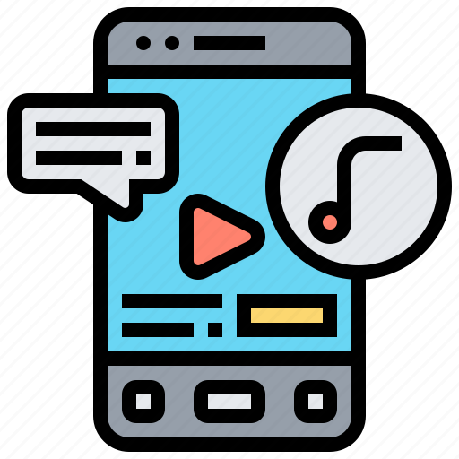 application, message, mobile, notification, songs icon