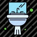 bathroom, mirror, sink, washbasin