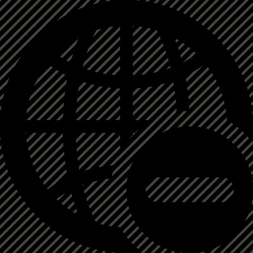 cancel, delete, globe, net, network, remove icon