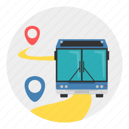 bus, marker, road, route, transport, way icon