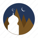montain, moon, mosque, ramadan icon