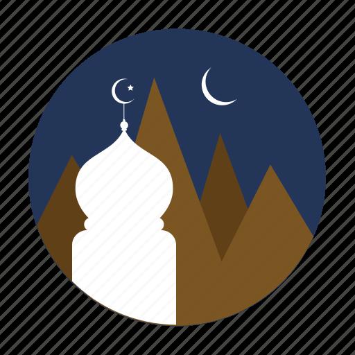 montain, moon, mosque, ramadan icon