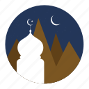 montain, moon, mosque, stars icon