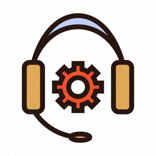 assist, gear, headset, help, support, technician icon