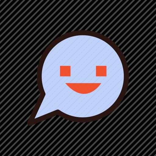 app, communication, emoji, message, receive message, smile, talk icon