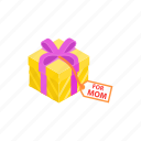 box, day, gift, holiday, isometric, love, mother icon