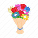 bouquet, day, holiday, isometric, love, mom, mother icon
