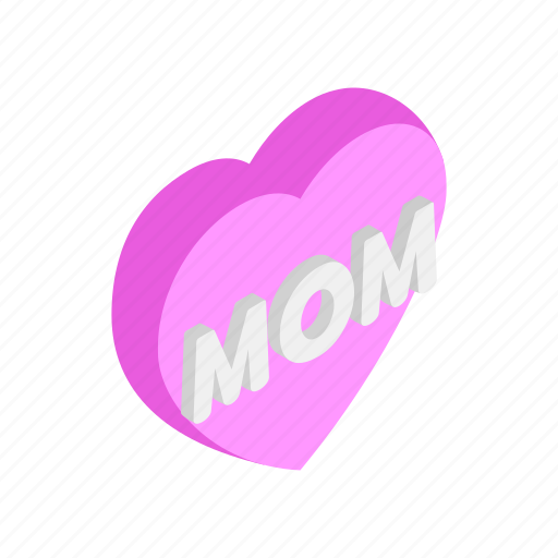 day, greeting, heart, isometric, love, mom, mother icon